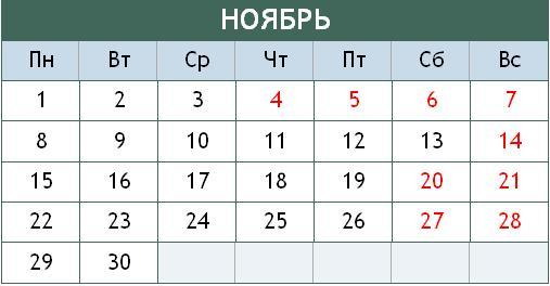 В ноябре россияне будут 4 дня подряд отдыхать и 6 дней подряд работать