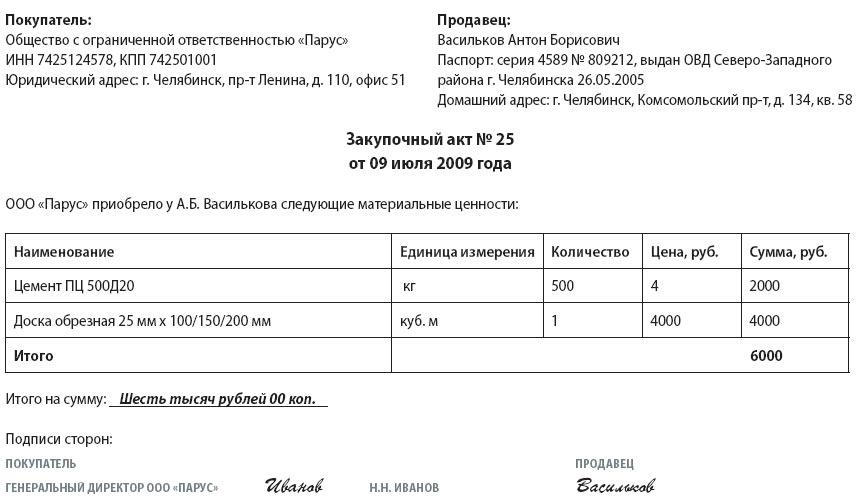 акт приема товара образец казахстан