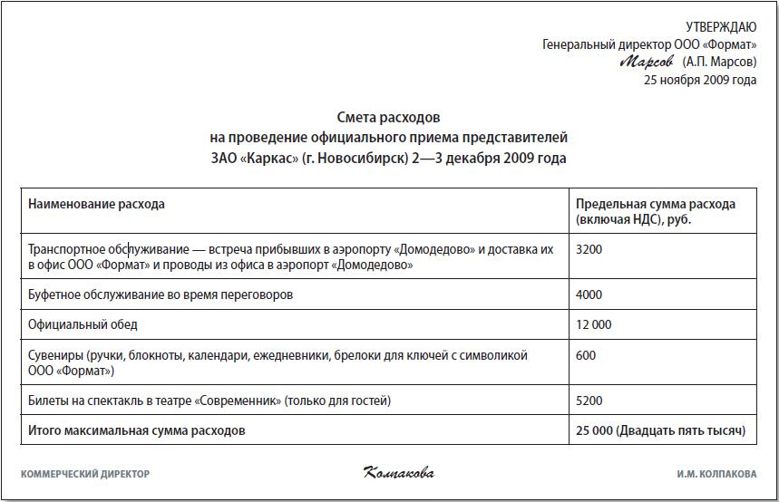 Обоснование Представительских Расходов Образец img-1
