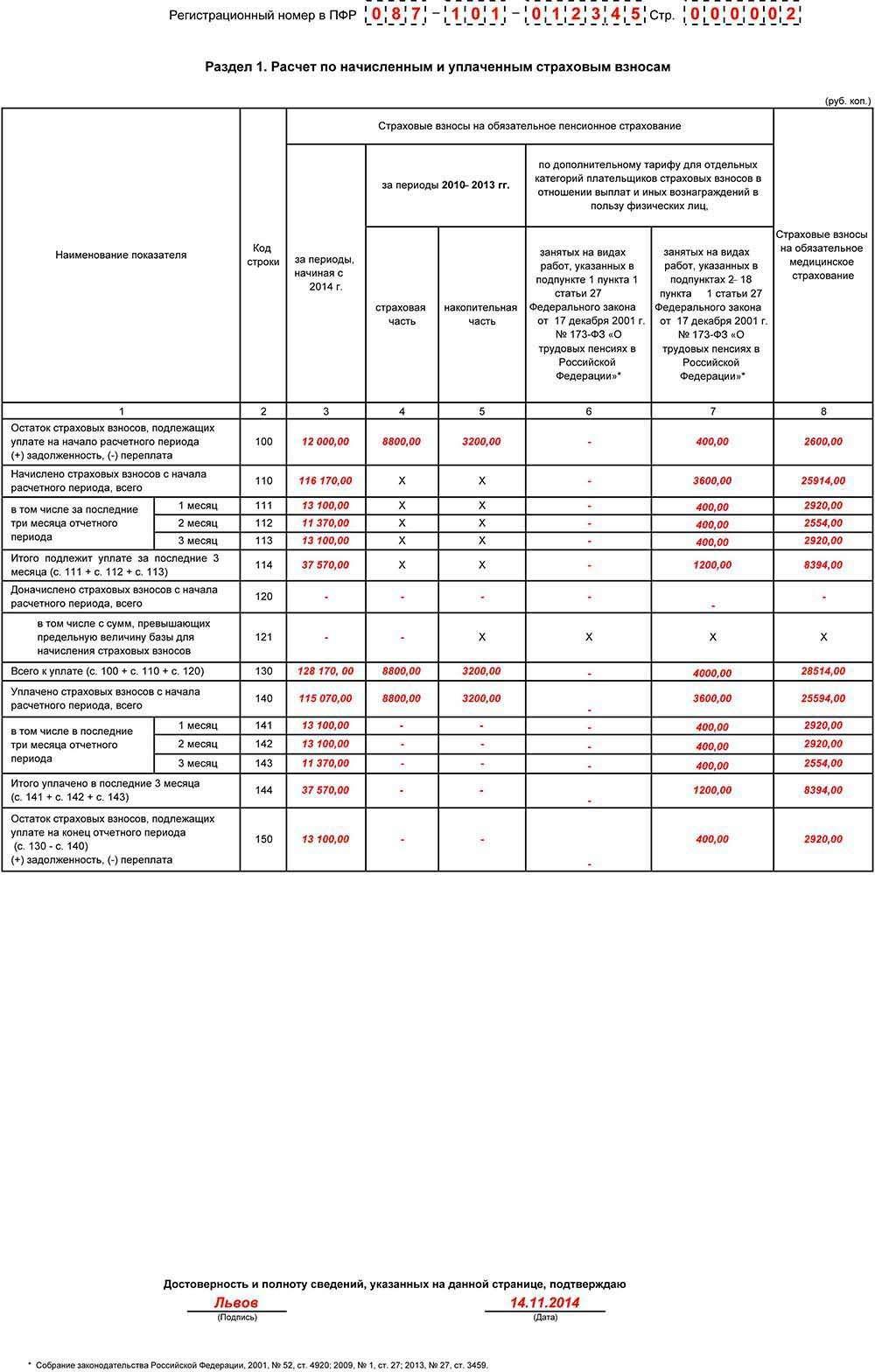 Образец заполнения формы РСВ-1 за 9 месяцев 2014 года