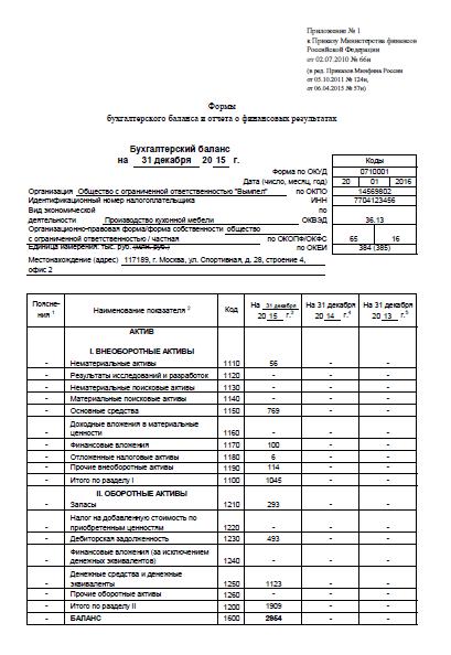 бухгалтерский баланс предприятия заполненный пример 2014 образец песне Дворовые
