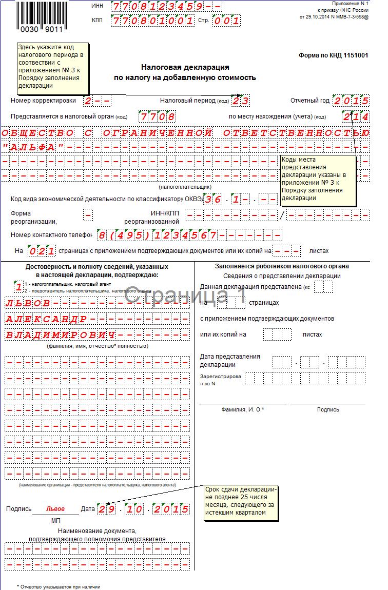 Декларация по НДС в 2015 году