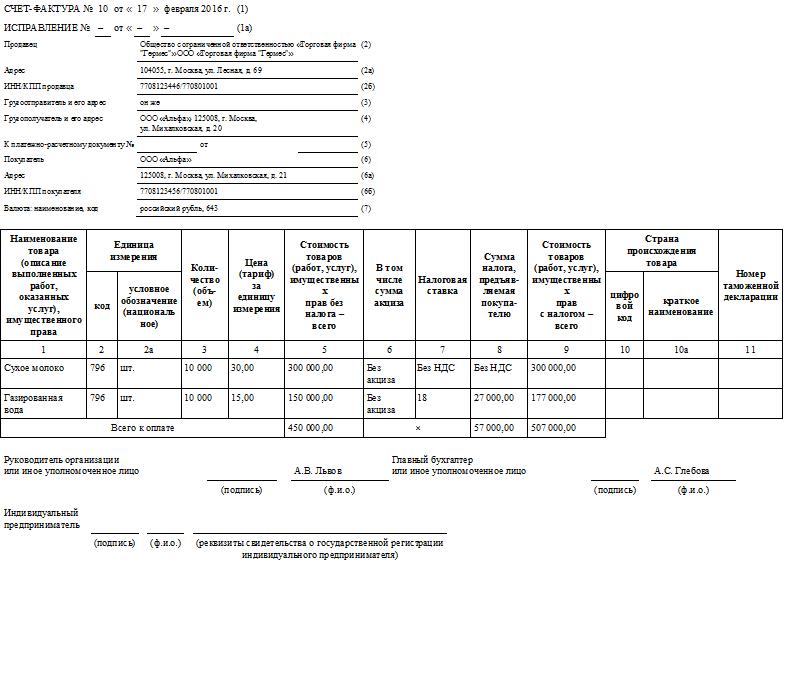 Образец счета-фактуры без НДС в 2016 году