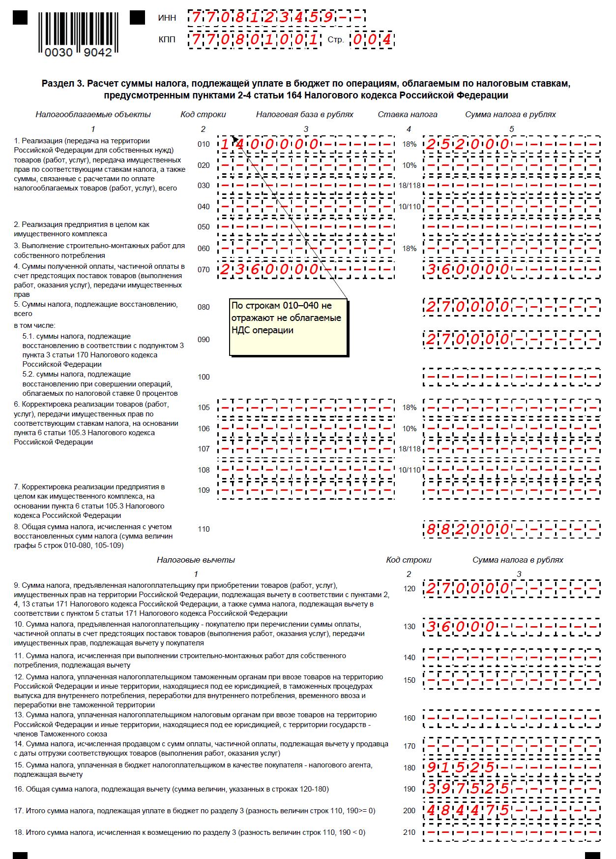 Декларация по НДС за 2 квартал 2016 года пример заполнения