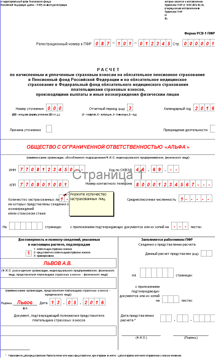 Форма Рсв-1 Пфр 2015 образец заполнения Нулевой