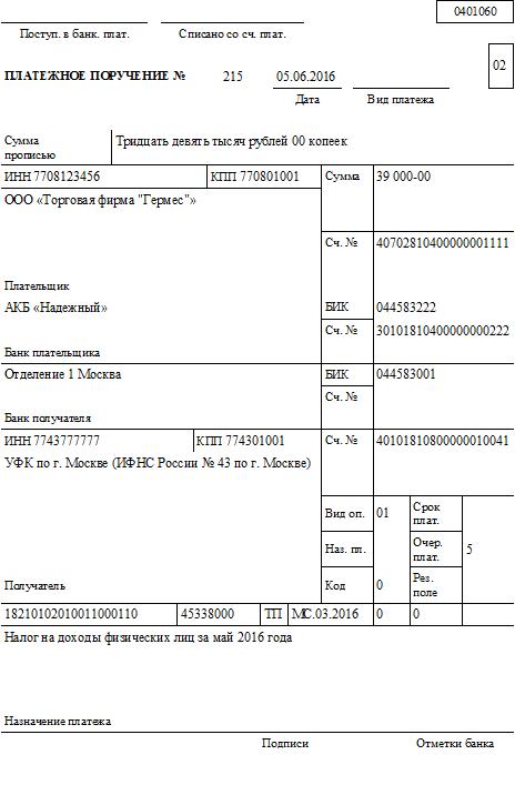КБК на пени по НДФЛ в 2016 году для юридических лиц