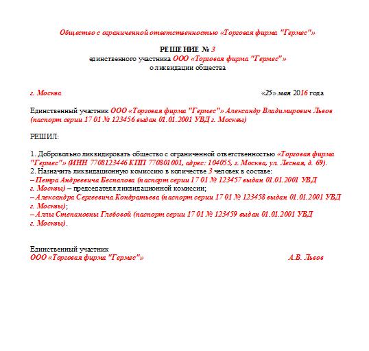 образец 4 фсс при ликвидации