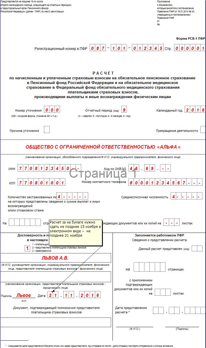 Нулевая форма РСВ-1 за 3 квартал 2016 года: образец