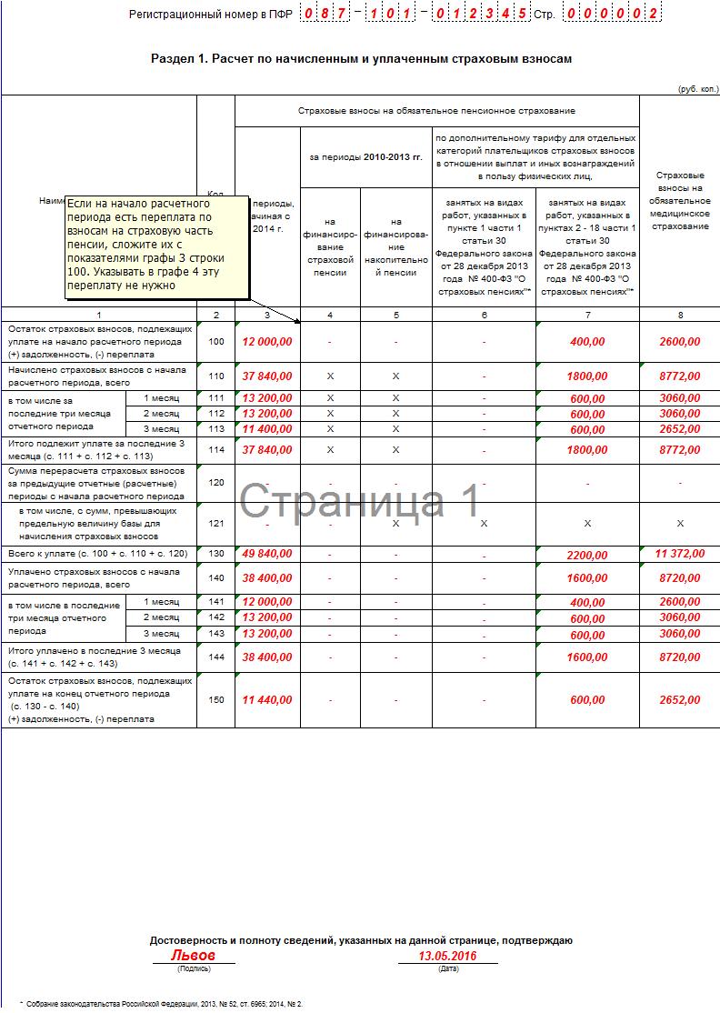 заполнения формы РСВ-1 ПФР в 2016 году 2