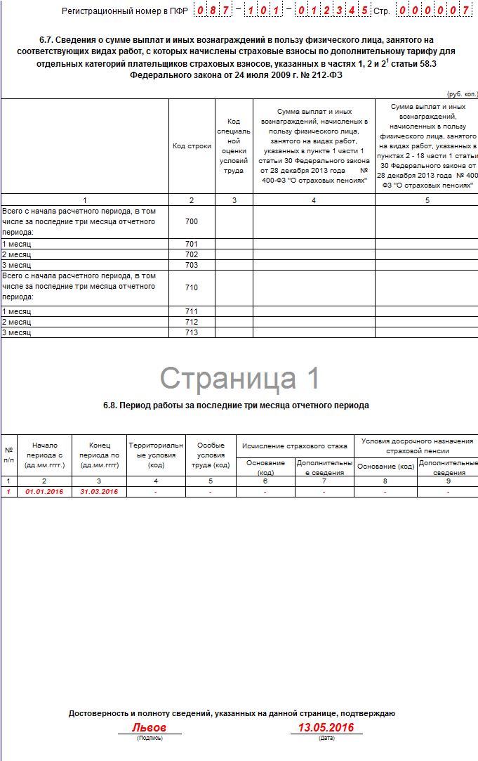 заполнения формы РСВ-1 ПФР в 2016 году 7