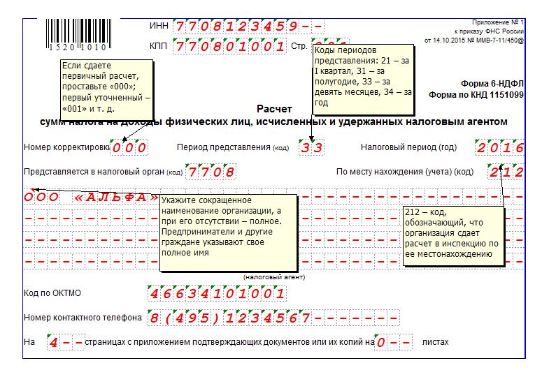 Порядок заполнения формы 6-НДФЛ за 3 квартал 2016 года
