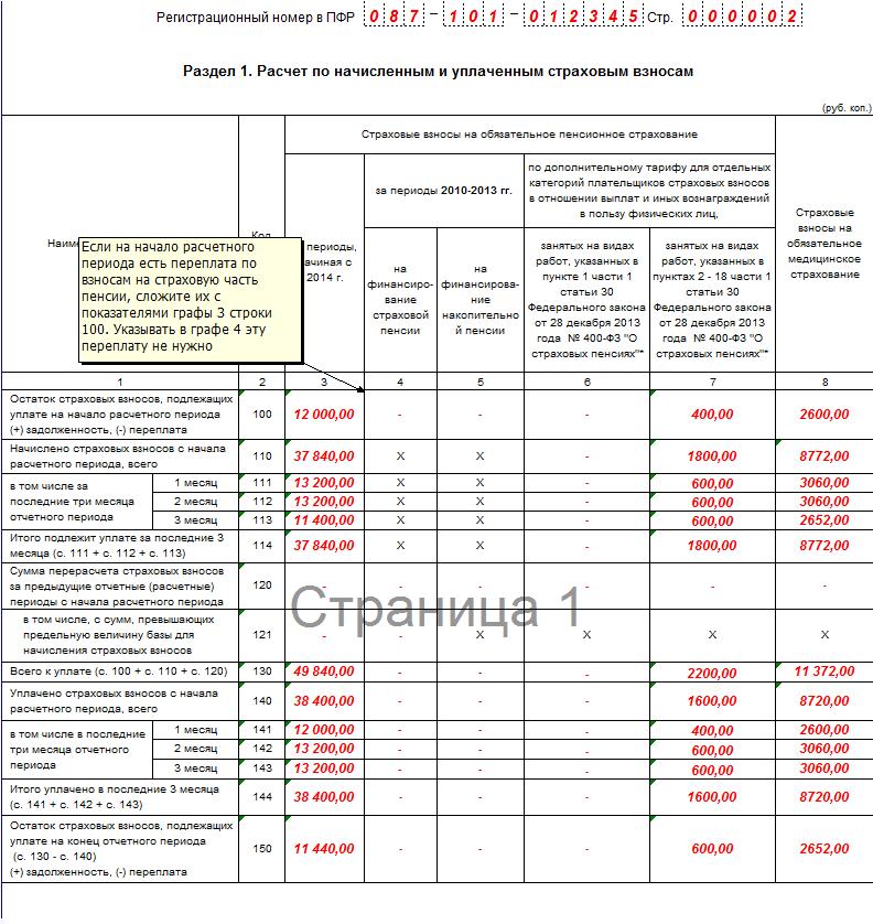 образец заполнения РСВ-1 за 1 квартал 2016 года
