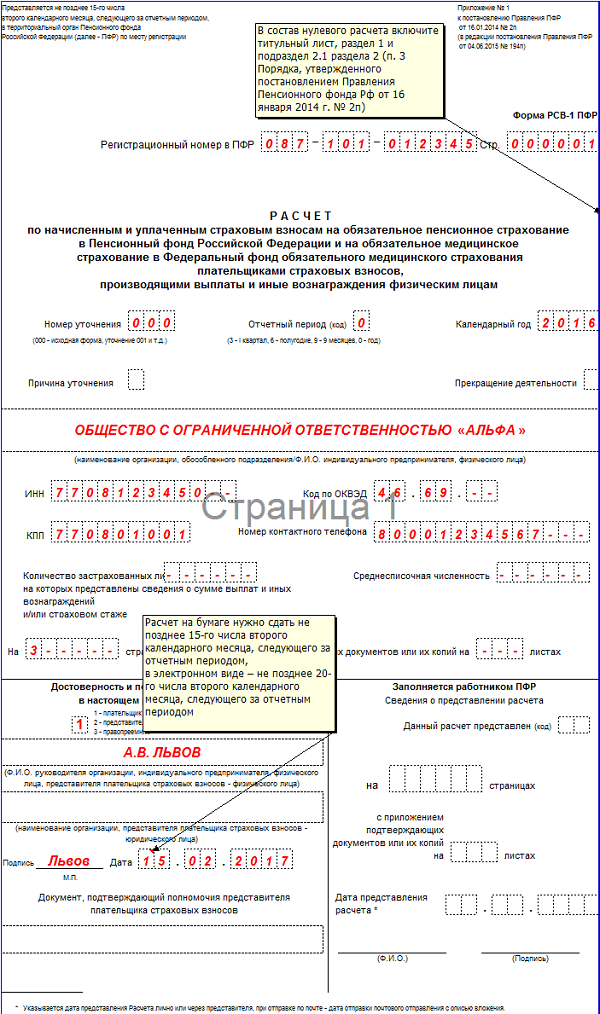 РСВ-1 за 4 квартал 2016 года нулевая образец