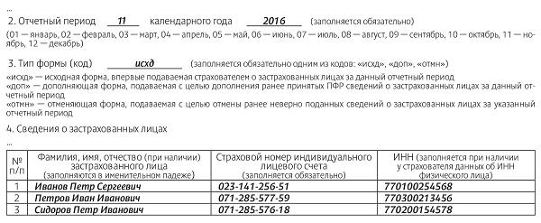 СЗВ-М за ноябрь 2016 года
