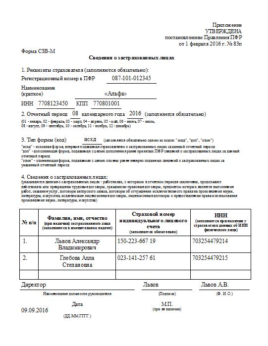 Срок сдачи СЗВ-М за 3 квартал 2016 года