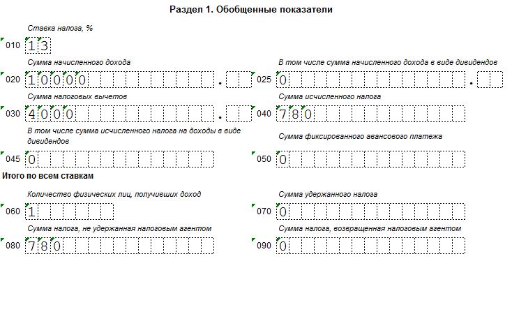 Строка 080 формы 6-НДФЛ за 3 квартал 2016 года