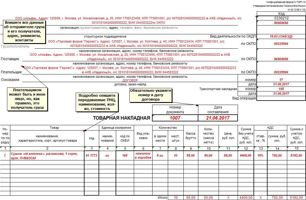 ТОРГ-12: образец заполнения в 2017 году