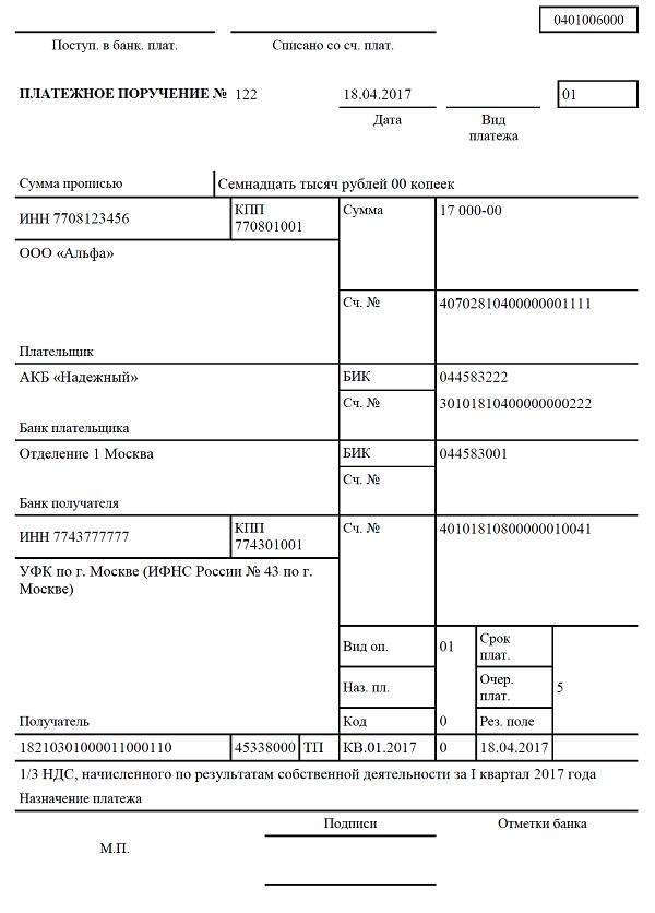 пример платежки по НДС
