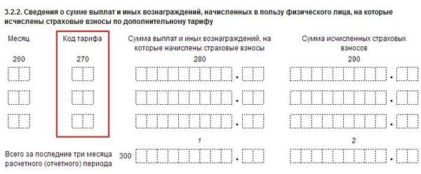 Код тарифа плательщика в РСВ 2019 при УСН