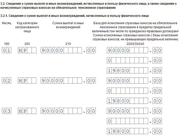 Расчет по страховым взносам за 1 квартал 2019 года раздел 3