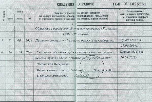 Увольнение по собственному желанию на испытательном сроке: запись в трудовой книжке