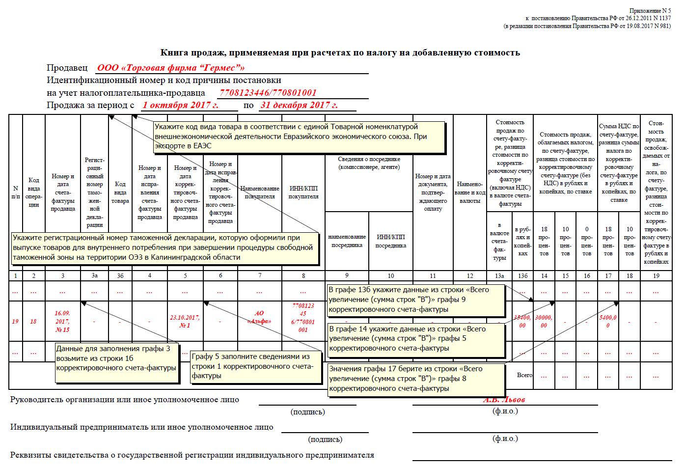 отражение корректировочного счета фактуры у продавца