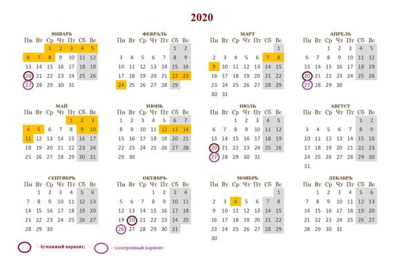 календарь бухгалтера на 2020 сроки сдачи отчетности