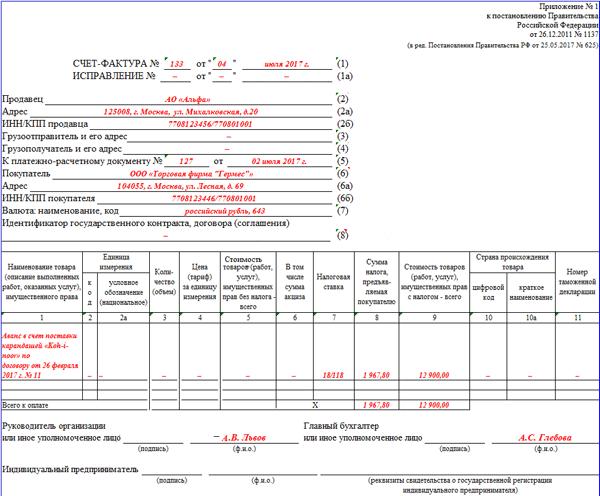 Авансовая счет-фактура действия продавца