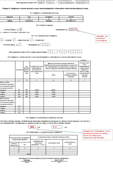 форма РСВ-1 ПФР за 4 квартал 2016 год