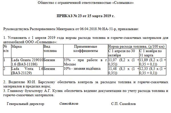 Новые нормы списания ГСМ 2019 Минтранса РФ: таблица